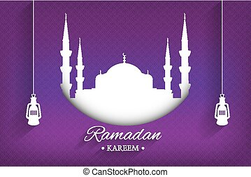 Mosque silhouette and handwritten ramadan kareem and hanging lamps with purple background, vector, illustration, eps file