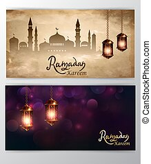 mosque silhouette in night sky with crescent moon and star greeting card set