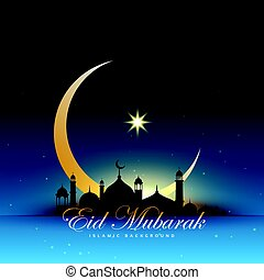 mosque silhouette in night sky with golden crescent moon and star