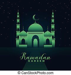 mosque silhouette with green lights ramadan kareem