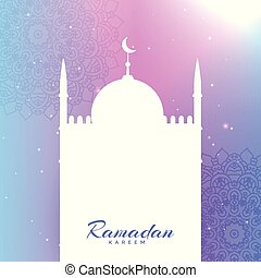 mosque silhouette with text space for ramadan kareem