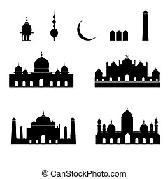 Mosque silhouettes collection. Vector illustration. Set of black icons isolated on white.