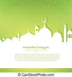 mosque silhoutte in green pattern background