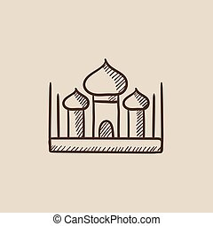 Mosque sketch icon.