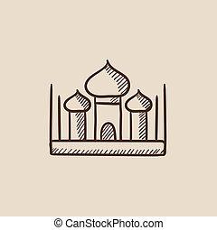 Mosque sketch icon.