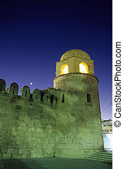 Mosque- Sousse, Tunisia - Exterior tower of the Great Mosque...