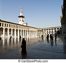 Mosque - The Umayyad Mosque tower in Damascus, Syria. Roman...