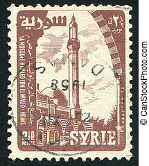 Mosque - SYRIA - CIRCA 1957: stamp printed by Syria, shows...