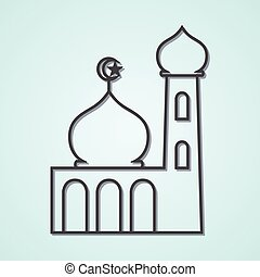 Mosque - Line art illustration of a mosque