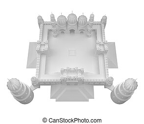 mosque white 3d rendering