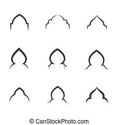 Mosque window vector icon design template
