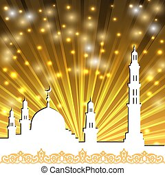 mosque with minaret - Background with a mosque and a...