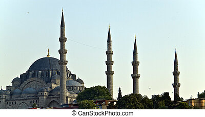 Mosque with minarets in Istanbul, Turkey