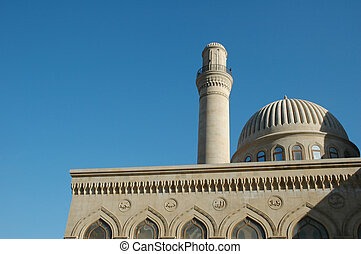 Mosque with one minaret in Baku, Azerbaijan