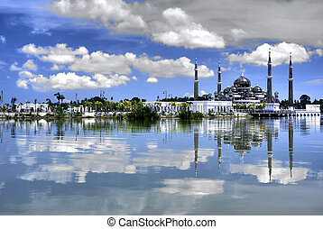 mosque with reflection on a lake
