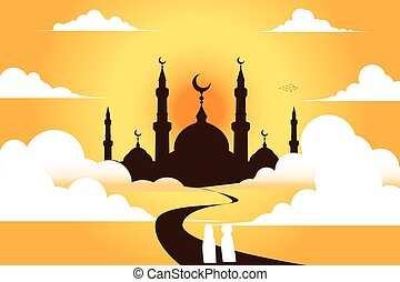 mosque with sky , vector background