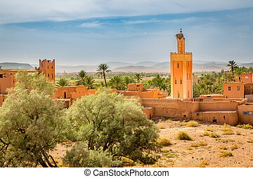Mosque with stork nest in old Medina in Ouarzazate, Morocco