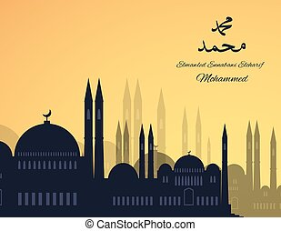 Mosques silhouette on sunset sky background. Vector flat...