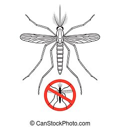 Mosquito and No mosquito sign silhouette