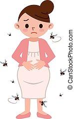 Mosquito and pregnant women - Vector illustration.Original...
