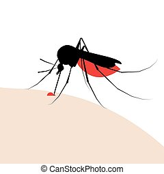 mosquito bite silhouette with drop of blood - Aedes Aegypti...
