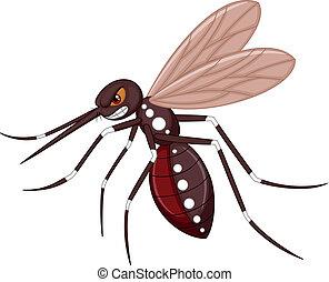 mosquito, caricatura, enojado
