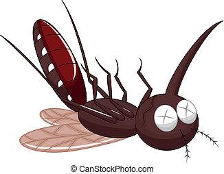 mosquito, caricatura, muerte