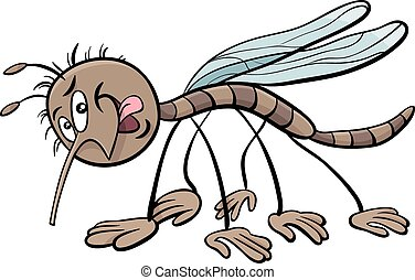 mosquito character cartoon illustration - Cartoon...
