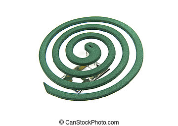 Mosquito coil on white background