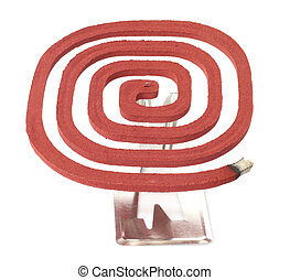 Mosquito coil over white background