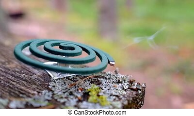 Mosquito coil repelent. Protection against insects