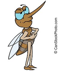 Mosquito - Colored Cartoon Illustration, Vector