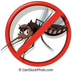 Mosquito control sign on white background