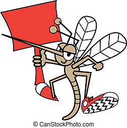 Mosquito Holding Sign - Cute, funny cartoon mosquito holding...