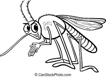 mosquito insect coloring page - Black and White Cartoon...