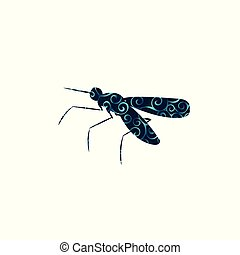 Mosquito insect spiral pattern color silhouette animal. Vector Illustrator.