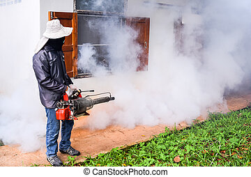 Environmental health workers are fogging to control dengue Mosquito-killing