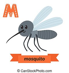 Mosquito. M letter. Cute children animal alphabet in vector. Funny cartoon animals