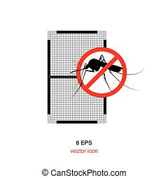 Simple mosquito net icon or symbol isolated