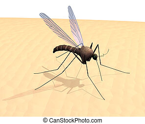 3D render of a mosquito on skin.