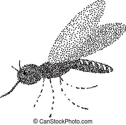 Mosquito on the isolated background. Hand drawing. Sketch...