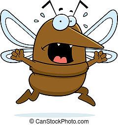 Mosquito Panic - A cartoon mosquito running in a panic.