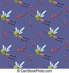 mosquito pattern - Funny seamless pattern with mosquitoes