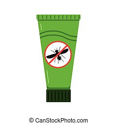 Mosquito repellent cream icon isolated on white background in flat style.