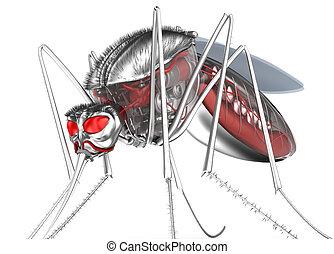 mosquito., sanguijuela, robot