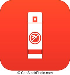 Mosquito spray icon digital red for any design isolated on...