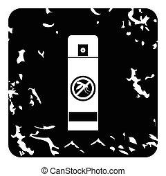 Mosquito spray icon, grunge style