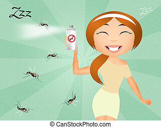 Mosquito spray - illustration of mosquito spray