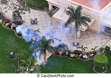Mosquito spraying - Spraying mosquitoes in back yard of the...
