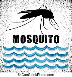 Mosquito, standing water, graphic illustration, grunge background. EPS8 compatible.